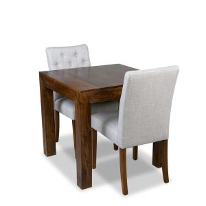The Extra Small Dakota Dining Table & 2 Milan Button Fabric Chair