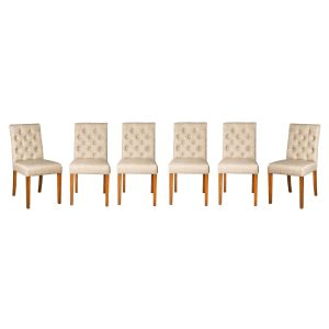 Set of 6 Milan Button Fabric Chairs