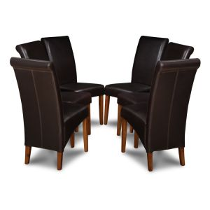 Set of 6 Brown Rollback Leather Dining Chairs