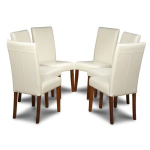 Set of 6 Cream Barcelona Leather Dining Chairs