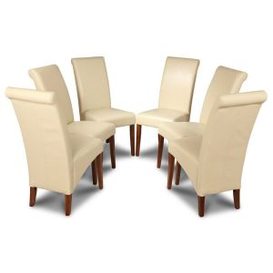 Set of 6 Cream Rollback Leather Dining Chairs