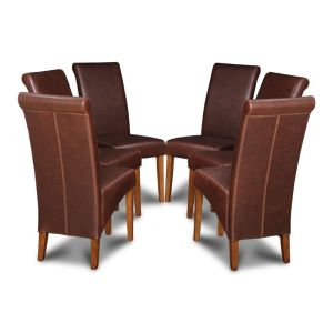 Set of 6 Antique Brown Rollback Leather Dining Chairs