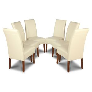 Set of 6 Cream Madrid Leather Dining Chairs