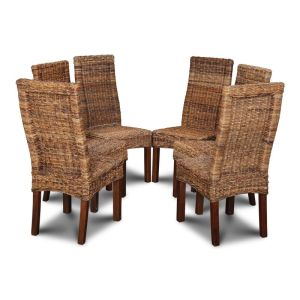 Set of 6 Salsa Rattan Dining Chairs