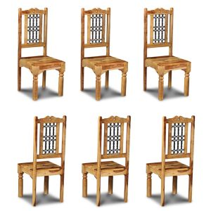 Set of 6 Light Jali Dining Chairs