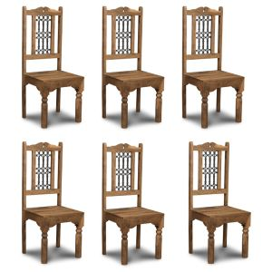Set of 6 Natural Jali Dining Chairs