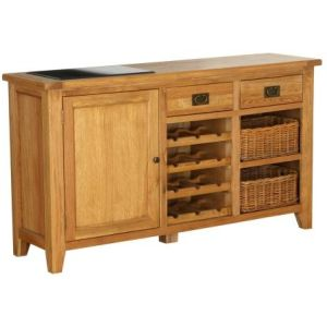 Atlanta 1 Door 2 Drawer 2 Basket Drawer Buffet with Wine Rack