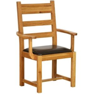 Atlanta Carver Chair with Chocolate Leather Seat