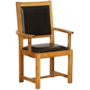 Atlanta Carver Chair with Chocolate Leather Seat & Backrest