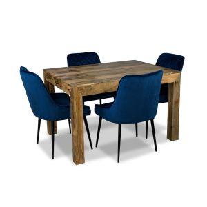 Light Dakota 120cm Dining Table & 4 Henley Velvet Chairs