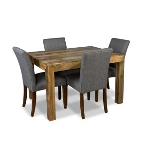 Light Dakota 120cm Dining Table & 4 Milan Fabric Chairs