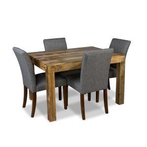 Light Mango 120cm Dining Table & 4 Milan Fabric Chairs