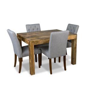 Light Mango 120cm Dining Table & 4 Milan Button Fabric Chair
