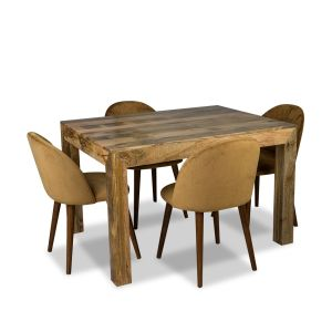 Light Mango 120cm Dining Table & 4 Zena Velvet Chairs