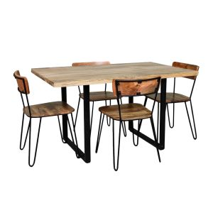 Industrial Dining Table and 4 Light Vintage Chairs