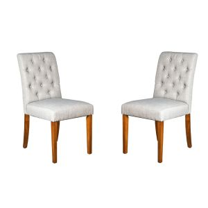 Set of 2 Milan Button Fabric Chairs