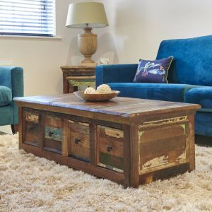 Reclaimed Indian 4 Drawer Coffee Table