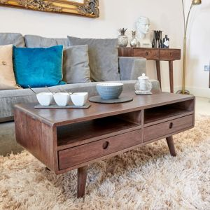 Vintage Mango Coffee Table With Drawers