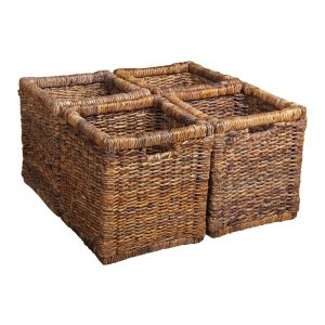 Set of 4 Coffee Table Rattan Baskets