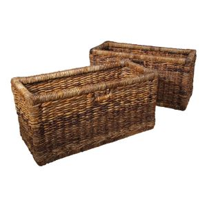Set of 2 Bookcase Rattan Baskets