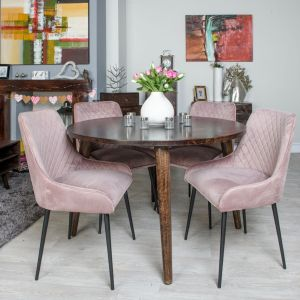 Vintage Mango Round Dining Table Large & 4 Henley Velvet Chair