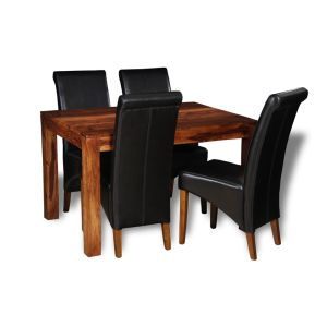Small Cube Dining Table & 4 Rollback Chairs