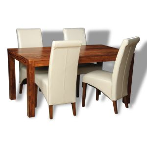 Cube Dining Table & 4 Rollback Chairs