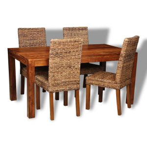 Small Cube Dining Table & 4 Rattan Chairs