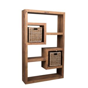Cube Natural Bookcase with Rattan Baskets