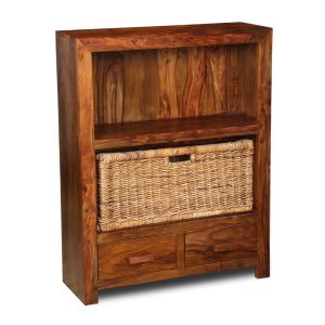 Cuba 2 Drawer Bookcase with Rattan Basket
