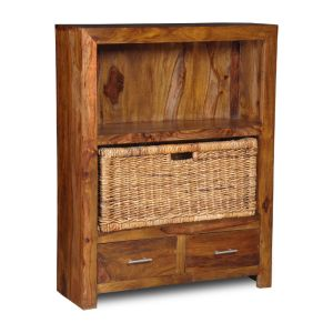 Cube 2 Drawer Bookcase with Rattan Basket