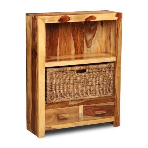 Cuba Light 2 Drawer Bookcase and Rattan Basket