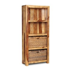 Cuba Light Bookcase With Rattan Baskets