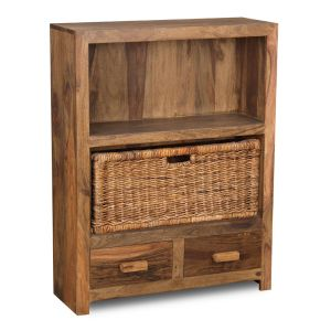 Cuba Natural 2 Drawer Bookcase and Rattan Basket