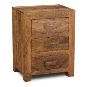 Cuba Natural 3 Drawer Bedside Unit