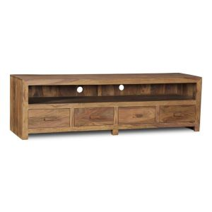 Cuba Natural Long 4 Drawer TV Unit