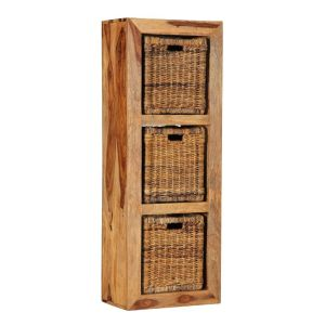Cuba Light 3 Hole Storage Cube with Rattan Baskets