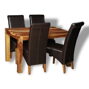 Small Cube Light Dining Table & 4 Rollback Chairs