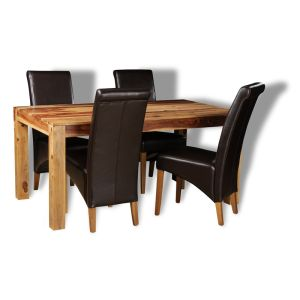 Cube Light Dining Table & 4 Rollback Chairs