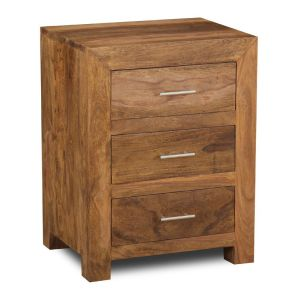 Cube Natural 3 Drawer Bedside Unit