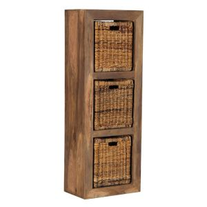 Cube Natural 3 Hole Storage Cube with Rattan Baskets