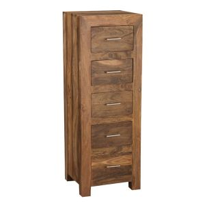 Cube Natural 5 Drawer Tall Boy