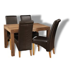 Small Cube Natural Dining Table & 4 Rollback Chairs