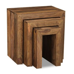 Cube Natural Nest of 3 Tables