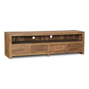 Cube Natural Long 4 Drawer TV Unit