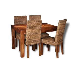 Small Cuba Dining Table and 4 Rattan Chairs