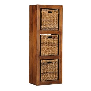 Cube 3 Hole Storage Unit with Rattan Baskets