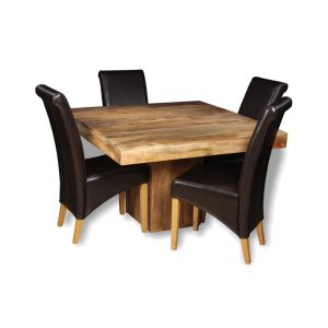 Light Dakota 120cm Cube Dining Table & 4 Rollback Chairs