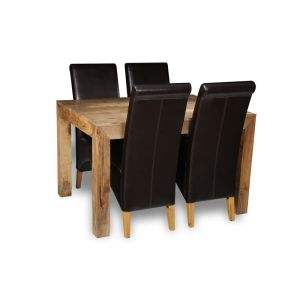 Light Dakota 120cm Dining Table & 4 Leather Rollback Chairs