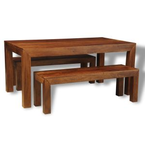Dakota 180cm Dining Table & 2 Large Benches